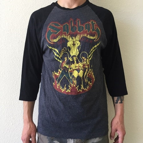"Sabbat ""Sabbatical Maniacs Worldwide"" Raglan 3/4 Sleeve Shirt XL"