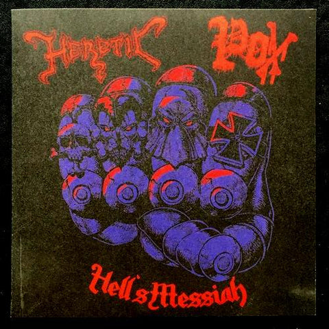 "Heretic / Pox ""Hell's Messiah"" Split 7"""