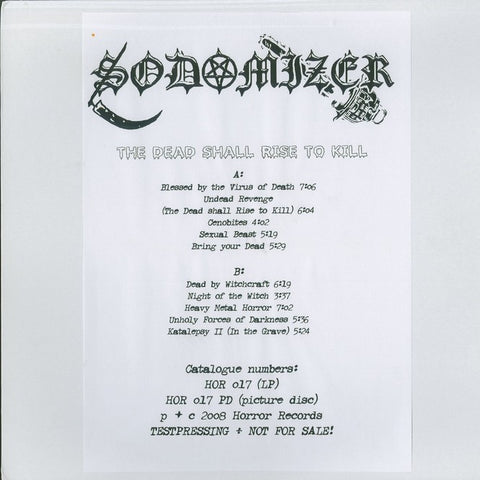 "Sodomizer ""The Dead Shall Rise to Kill"" Test Press LP"