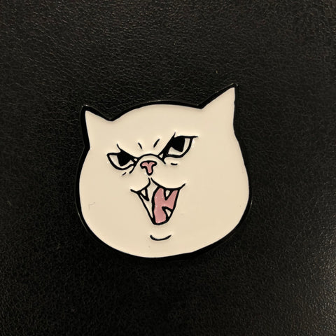 "Mysticat ""Cattack"" Enamel Pin (White design)"