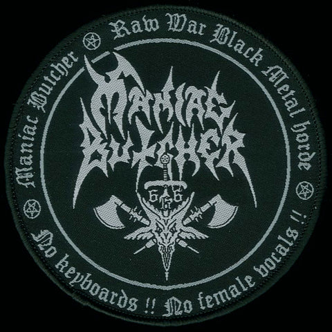 "Maniac Butcher ""Raw War Black Metal"" Circular Patch"