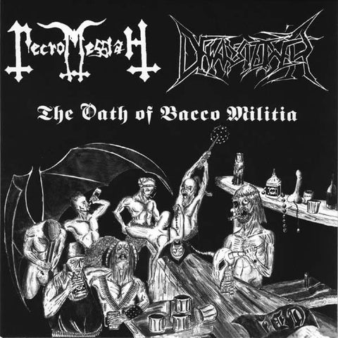 "Necromessiah / Dewarsteiner ""The Oath Of Bacco Militia"" Black White Vinyl 7"""