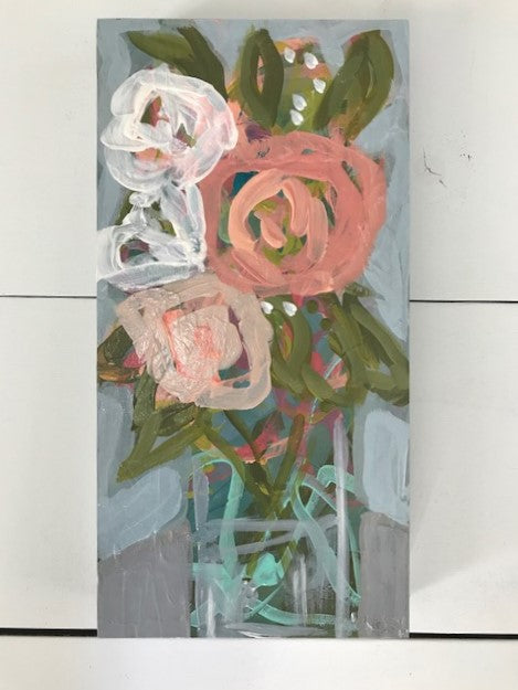 Handmade Multicolored Floral Painting w/ U Vase - 12x6 | Home Decor | Amped Decor