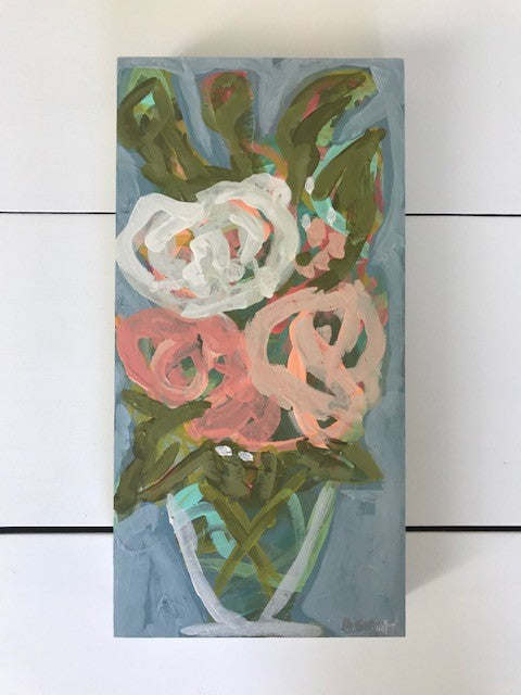 Handmade Multicolored Floral Painting w/ V Vase - 12x6 | Home Decor | Amped Decor