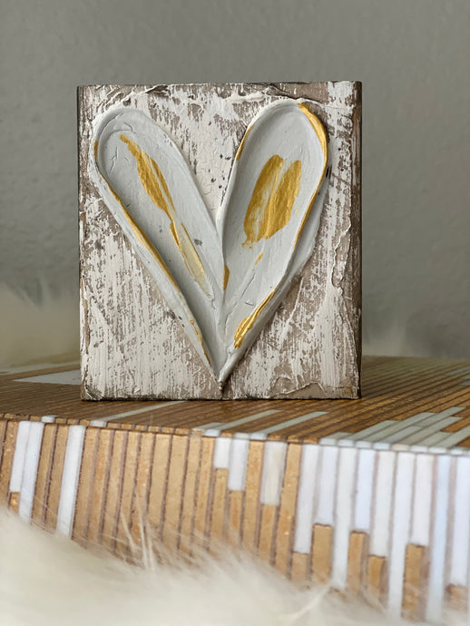 Grey & Gold Heart Wood Art