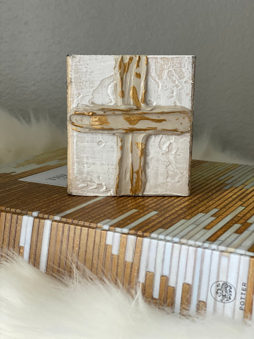 Taupe & Gold Cross Wood Art
