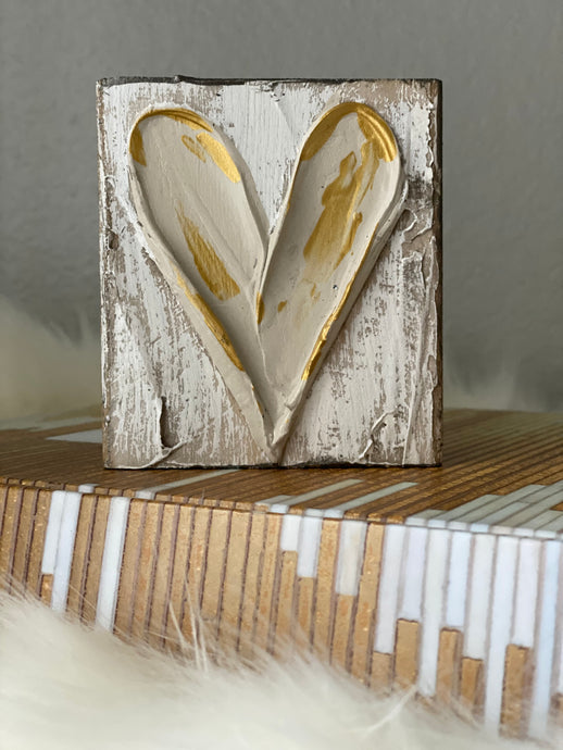 Taupe & Gold Heart Wood Art