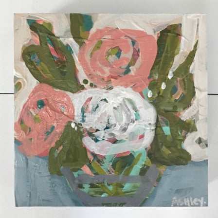 Handmade Multicolored Floral Painting w/ Cream Background - 8x8 | Home Decor | Amped Decor