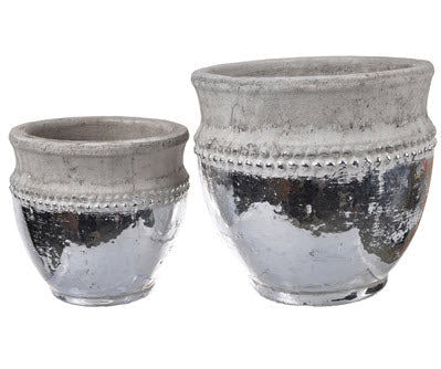 Silver Dipped Ceramic Pot - Large | Home Decor | Amped Decor