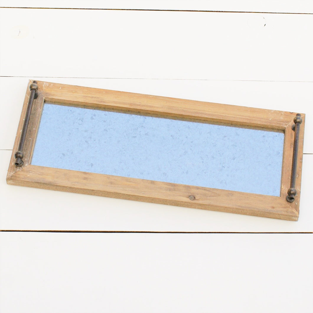 Wood & Metal Tray With Handles | Home Decor | Amped Decor
