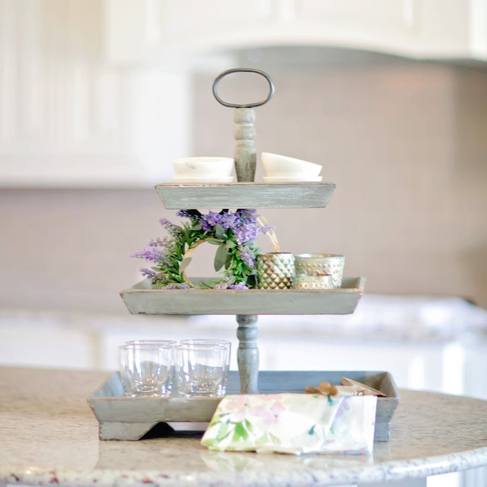 3 Tier Rustic Wooden Tray | Home Decor | Amped Decor