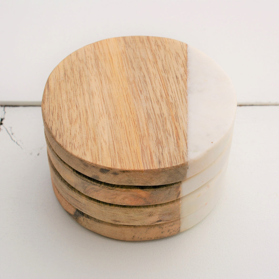 Marble & Mango Wood Coaster Set - Round | Home Decor | Amped Decor