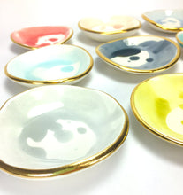 Handmade Round Ring Dish w/ 22k Gold Edge by Susan Gordon Pottery | Home Decor | Amped Decor