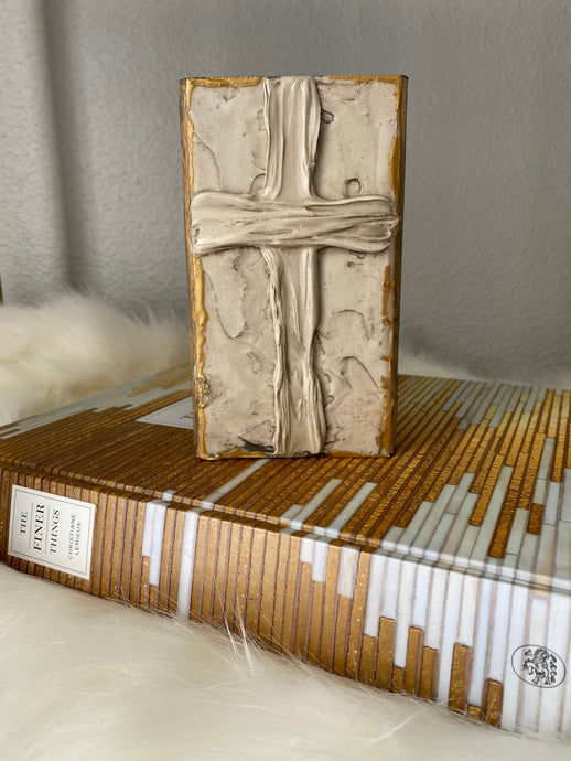 Taupe Cross Wood Art