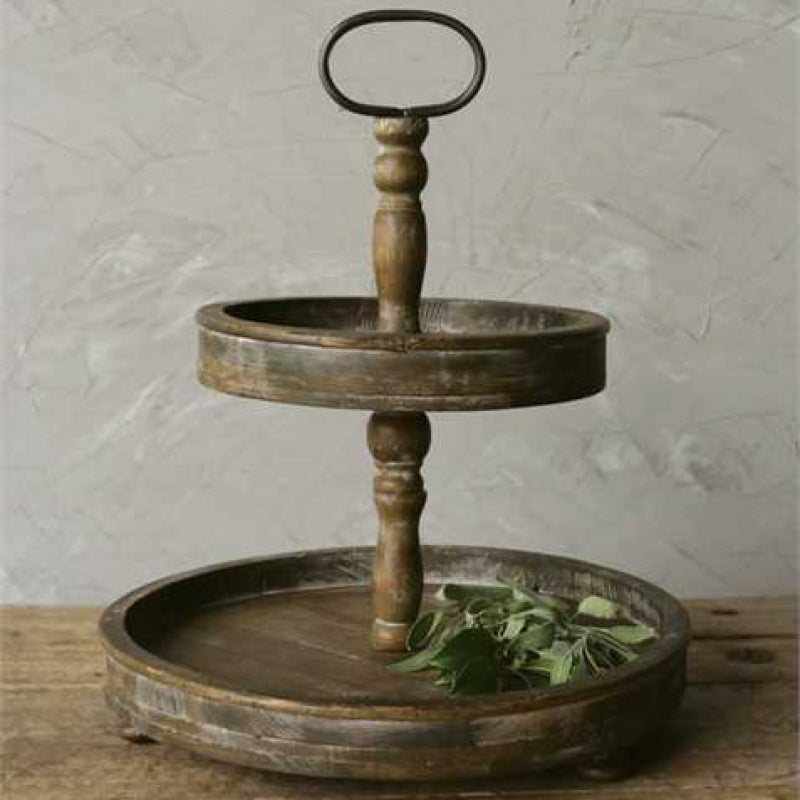 2 Tier Round Wooden Tray