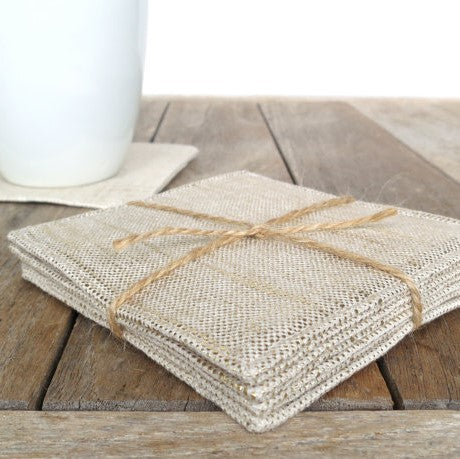 Gold Metallic Linen Coaster Set | Home Decor | Amped Decor