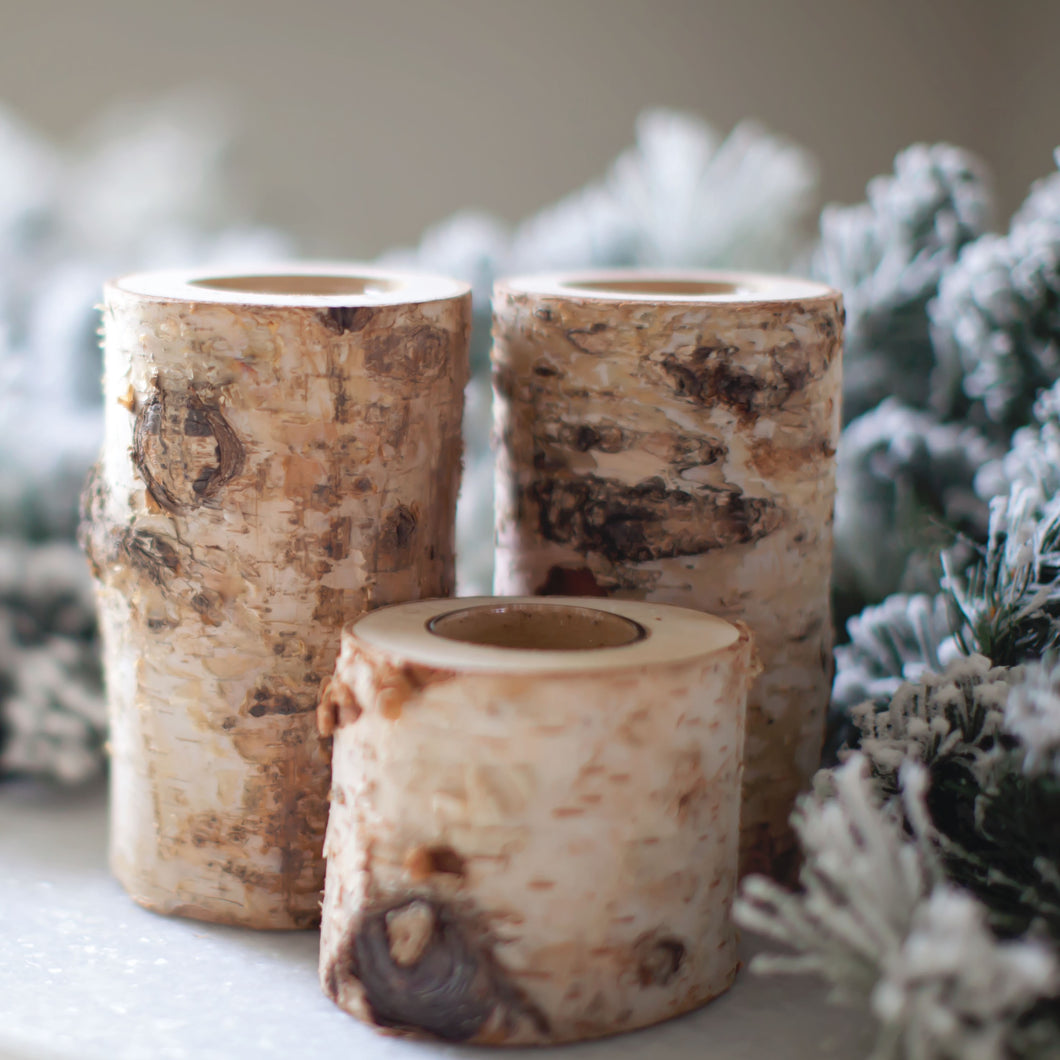 Birch Wood Log Tealight Candle Holder | Home Decor | Amped Decor
