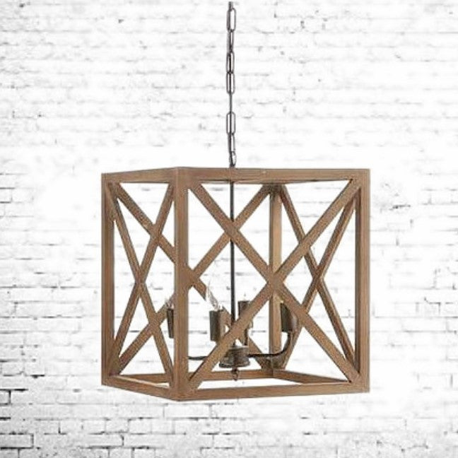 The Knox Criss Cross Wood Chandelier | Home Decor & Lighting | Amped Decor