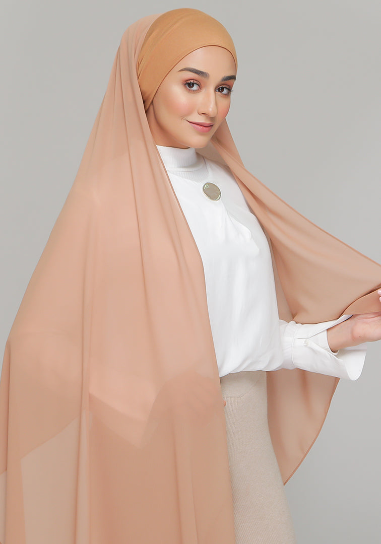Tie-Back Chiffon Gabana in Almond