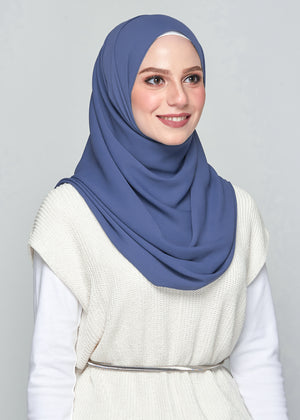 Premium Chiffon in Airforce Blue (Eyelash Hem)