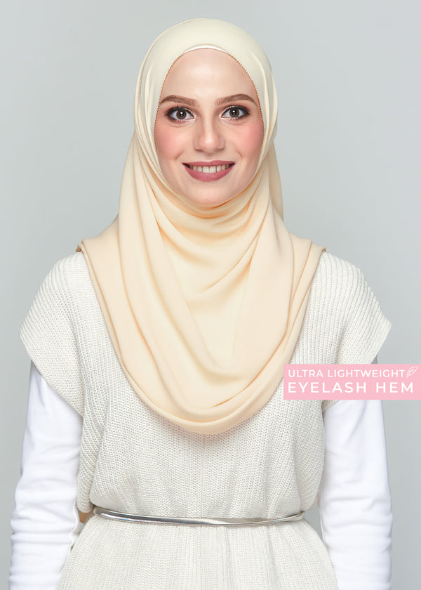 Premium Chiffon in Custard (Eyelash Hem)