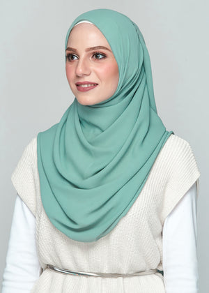 Premium Chiffon in Dusty Green (Eyelash Hem)