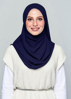 Premium Chiffon in Deep Blue (Eyelash Hem)