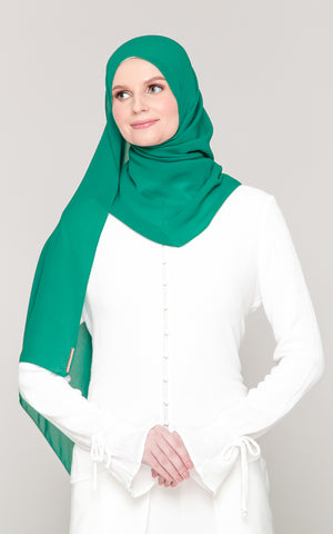 Premium Voile in Jade Green (Eyelash Hem)