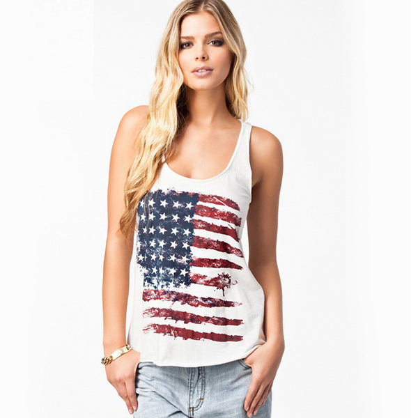 Fashion Women Patriotic American Flag Print Lace Camisole Tank Top