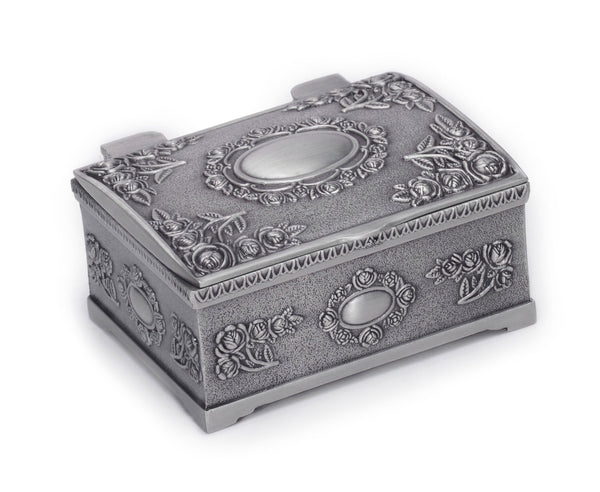 Vintage Pewter Small Trinket Jewelry Treasure Box