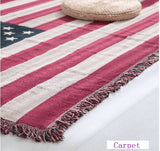 Duplex USA American Flag Cotton Couch Cover Tablecloth Carpet Rug