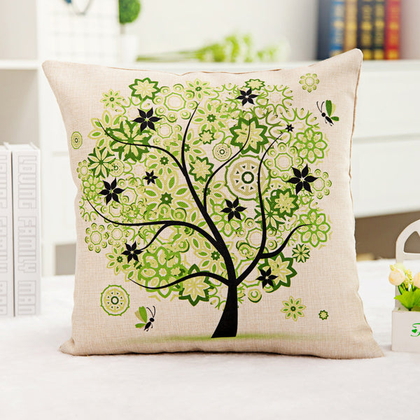 18'' X 18'' Premium Tree of Life Print Cotton Linen Decorative Pillow Cover Cushion Case