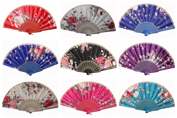 Wholesale Wedding Party Flower Print Multi-Pattern Decoration Fabric Folding Lace Silk Trim Hand Fan (Colorful Silk)