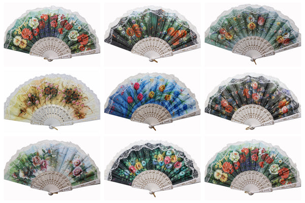 Wholesale Wedding Party Flower Print Multi-Pattern Decoration Fabric Folding Lace Silk Trim Hand Fan (White Frame)