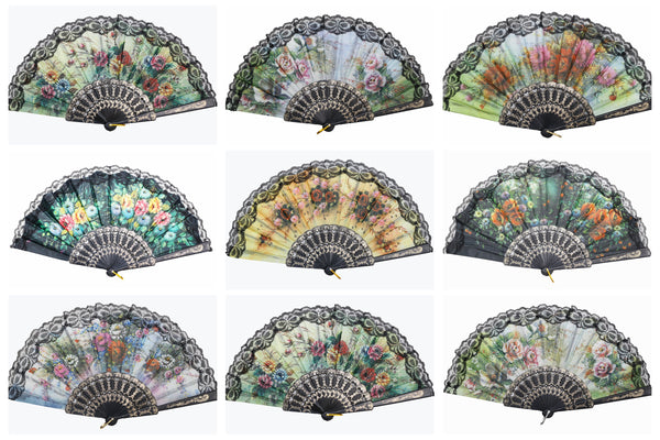 Wholesale Wedding Party Flower Print Multi-Pattern Decoration Fabric Folding Lace Silk Trim Hand Fan (Black Frame)