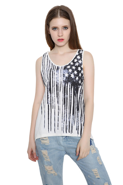 c85be942e0bbae ... Fashion Women Patriotic American Flag Print Lace Camisole Tank Top ...