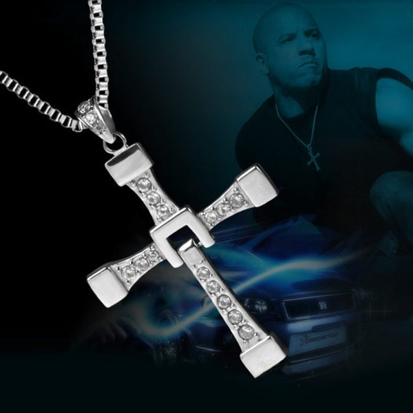 The Fast and the Furious Dominic Toretto's Cross Pendant Necklace,silver