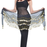 Vogue Style Chiffon Dangling Gold Coins Belly Dance Hip Scarf