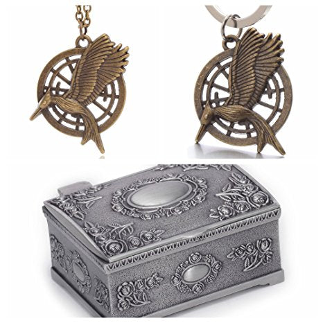 The Hunger Games Movie Catching Fire Mockingjay Metal Necklace & Keychain Set