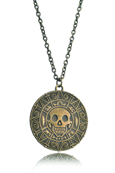 Pirates Of The Caribbean Movie Cursed Aztec Cortez Coin Pendant Necklace