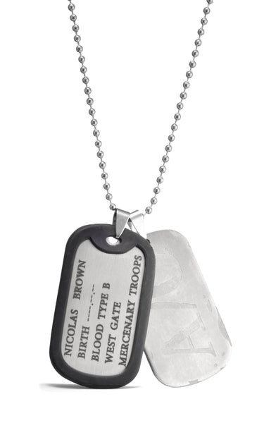 Anime Gangsta Nicolas Brown A/O Dog Tag Metal Cosplay Necklace