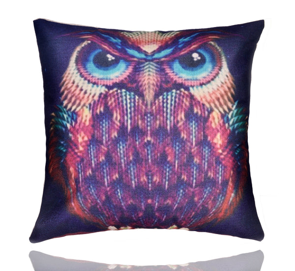 "18"" Premium Modern Simple Style Owl Print Cotton Linen Decorative Pillow Cover Cushion Case"