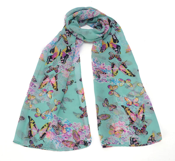 Preimum Colorful Butterfly Floral Long Scarf Shawl