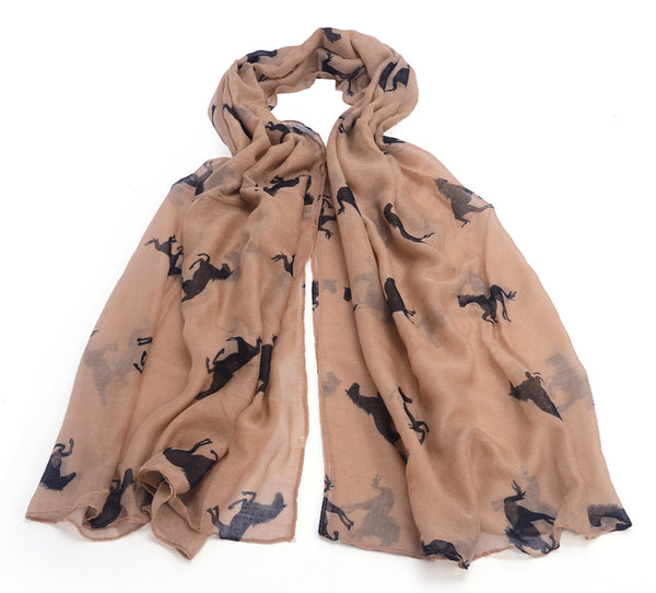 Western Horse Animal Print Cowboy Ranch Wrap Shawl Neckerchief Scarf