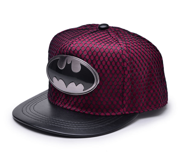 Batman Metal Logo Baseball Cap w/ Black Mesh Hip-hop Snapback Hat