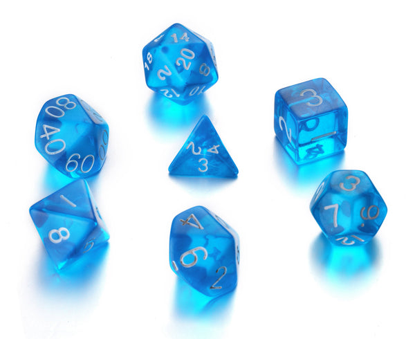 7 Die Polyhedral Role Playing Game Dice Set with Velvet Pouch (Transparent Colors)