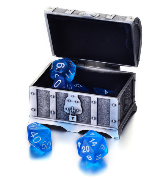7 Die Polyhedral Role Playing Game Dice Set with Treasure Chest Dice Container (Transparent Colors)