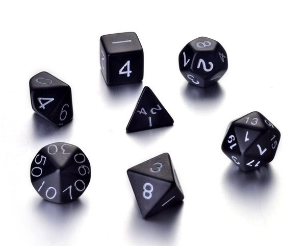 7 Die Polyhedral Role Playing Game Dice Set with Velvet Pouch (Solid Colors)