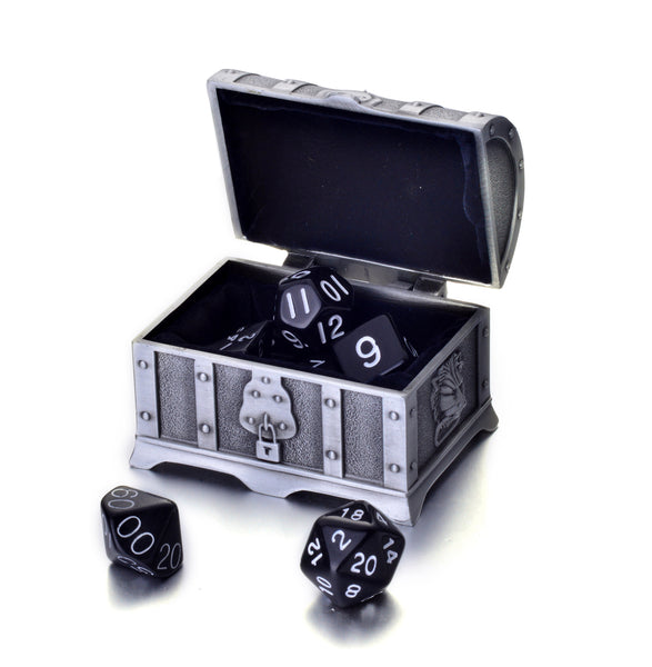 7 Die Polyhedral Role Playing Game Dice Set with Treasure Chest Dice Container (Solid Colors)