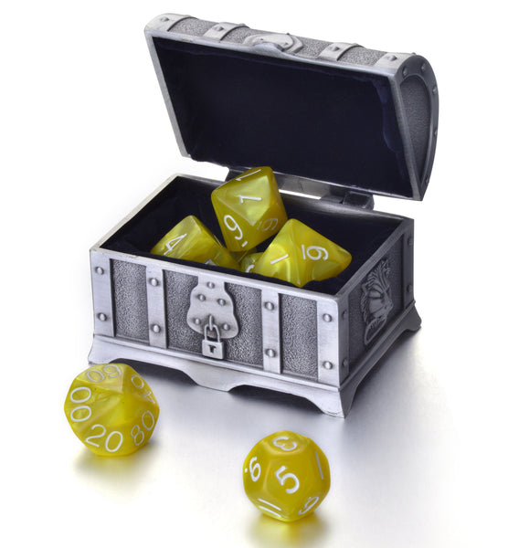 7 Die Polyhedral Role Playing Game Dice Set with Treasure Chest Dice Container
